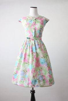 50s dress -  floral watercolor 1950's dress. $134.00, via Etsy.