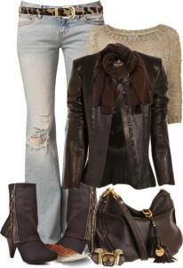outfit chamarra - botas cafe