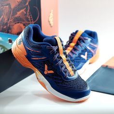 VICTOR Sepatu Badminton A922 DBZ Blue/Orange Read Anime, Badminton, Dbz, Blue Orange, Asics, Sneakers, Shoes, Fashion, Tennis