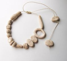 Tribal Polymer Clay Necklace Asymmetric Beadwork by totalhandmadeD