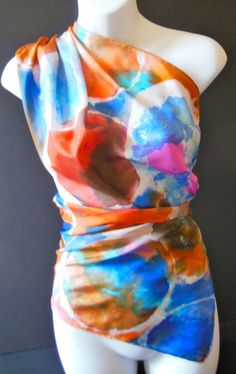 Planet Hollywood/ SILK SCARF  Hand Painted by SilkScarvesJoanReese, $90.00