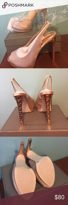 BCBGMAXAZRIA Heels BCBGMaxazria blush/rose heels. NWB.  Never worn.  Beautiful embellished heel. BCBGMaxAzria Shoes Heels