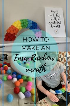 Are you looking for rainbow craft ideas for your front door or windows? This super easy tutorial to make a hanging rainbow wreath for kids uses pom poms! Pom Pom Rug, School Kids, Primary School, Craft Activities, Toddler Activities, Boredom Busters For Kids, Construction Paper Crafts, How To Tie Ribbon