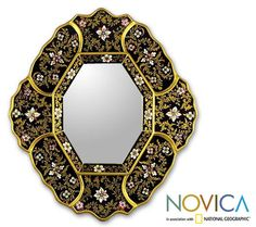 Designs are skillfully painted on glass panels by Asunta PelaezPanels are carefully adhered to a wooden frameMagnificently gilded to create this stunning mirror in the timeless Cajamarca style
