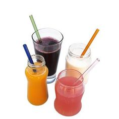 Bpa-fre 4 Colorful Vila Glass Drinking Straws With Cleaning Brush Eco-friendly
