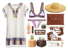 """""""Areadona"""" by sophiehackett ❤ liked on Polyvore featuring Calypso St. Barth, Sugar Paper, kiini, Sephora Collection, Clyde, Borghese, Davines, Burt's Bees, Ancient Greek Sandals and Magdalena Frackowiak"""