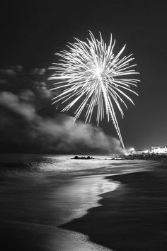 Fireworks on the shore