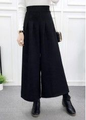 Black High Waist Wide Leg Straight Pants