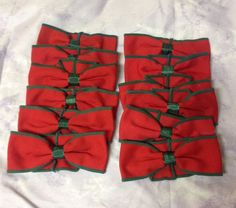 Christmas Napkin Holders Lot 12 Fabric Bows Ribbons Rings Decorative Red Green