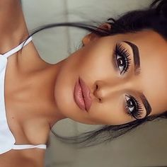 Beautiful make up look, nude lip and big lashes. Shop our cosmetics here > https://www.priceline.com.au/cosmetics