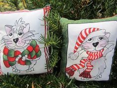 Christmas Catnip Pillows Pair of Kitty Pilllows Cat Pillows