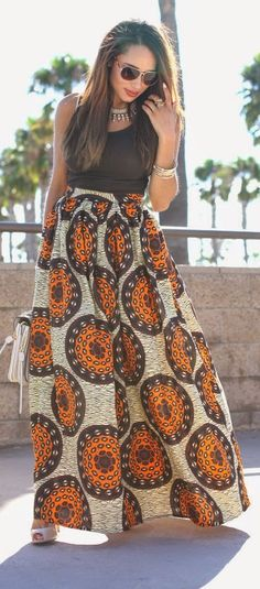 Melange Mode Brown Multi African Print High Rise Floor Length A-skirt