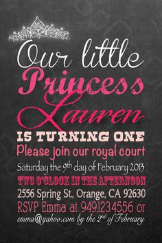 Chalkboard Princess Theme Birthday Party Invitation by socalcrafty, $15.00