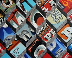vintage sign photo collage tumbling blocks