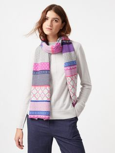 This jersey knit scarf is the epitome of winter dressing, not only does it have a very outdoorsy fair isle design, it has a colourful winter palette and a super soft feel. Pair with the matching gloves for an out-and-out chill cheating look. Slow Fashion, Ethical Fashion, Autumn Fashion, Women In Africa, Purple Scarves, Spring Scarves, Fair Trade Fashion, Scarf Styles, Stylish Outfits