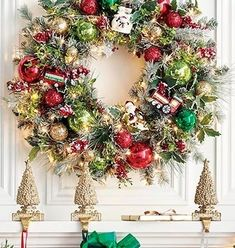 "From the handpainted glass ornaments to the sprays of lifelike holly, needle pine and flocked berries, the Snowy Christmas Indoor Cordless 30"" Wreath invites you to celebrate the season with classic Christmas cheer. The faux foliage is carefully handcrafted then illuminated by 100 warm white LED lights, creating a timeless accent you'll enjoy for seasons to come."