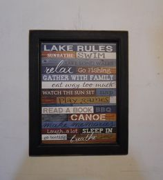 Hey, I found this really awesome Etsy listing at https://www.etsy.com/listing/233471192/lake-rules-wall-decor-wall-hanging-lake