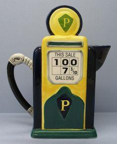 Vintage TEA POT - Fitz and Floyd GAS Pump Pitcher Collectible