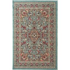"3'3""x5' Aqua Blue Tribal Bohemian Flowers Printed Runner Rug Indoor Outdoor Floral Pattern Living Room Rectangle Carpet Rich Textures Vibrant Color"