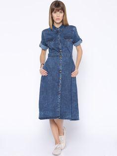 15f4490e266 Buy Tokyo Talkies Blue Denim Shirt Style Midi Dress - Dresses for Women