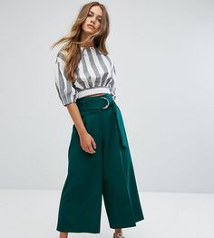 ASOS PETITE Clean Culotte with Oversized D Ring Detail Belt - Green