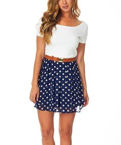 Look at this Pinkblush Navy Blue Polka Dot Color Block Belted Fit & Flare Dress on #zulily today!