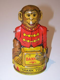 Vintage J. Chein & Co. Tin Litho Monkey Bank (Missing Right Arm)