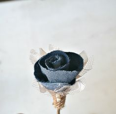 Lace and Denim Flower Wedding Boutonniere - Corsage Bridal Champagne Lace Blue Denim Champagne Organza Navy (17.50 USD) by TheSunnyBee