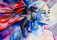Daenerys Targaryen - game of thrones  watercolor  painting print, Celebrity Portraits, Carmine red, Cerulean, red dragon on Etsy, $25.00