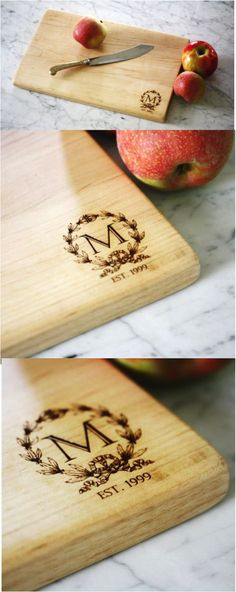Personalized cutting board made from solid maple wood. This can be personalized with an initial and year of your choice.  Perfect as a thoughtful engagement, wedding or anniversary gift.