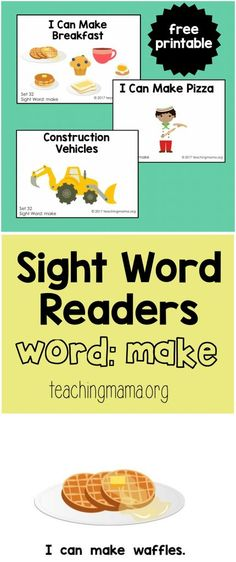 """Sight Word Readers for the Word """"Make"""" I use these for AAC Core Vocabulary Units too! Sight Word Booklets, Sight Word Readers, Sight Words Printables, Preschool Sight Words, Teaching Sight Words, Reading Help, Beginning Reading, Guided Reading, Kindergarten Reading Activities"""