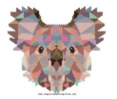 Koala by Clapiottes et loupiotte Seed Bead Patterns, Peyote Patterns, Beading Patterns, Cross Stitch Patterns, Cross Stitch Boards, Native Beadwork, Beaded Animals, Bead Jewellery, Peyote Stitch