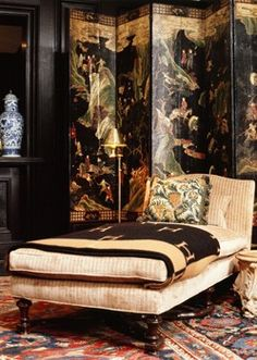 Chinoiserie screen, Hermes blanket throw..
