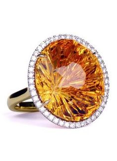 Custom citrine Stabrite™ cut ring with diamonds