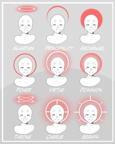 "i canoodled up a sheet for the different ""regular"" halo shapes for angels in celestial sphere more for my own reference than anyone else's anyways the shape of halo is changed according to what Order an angel is in, and the color is changed to match. Digital Art Tutorial, Character Design, Art Reference Poses, Drawing Tutorial, Art Poses, Art Drawings Sketches, Art Reference Photos, Drawing Challenge, Art Tutorials"