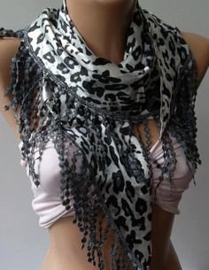 Elegance  Shawl / Scarf with Lacy Edge    leopard by womann, $19.00