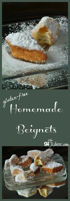 Homemade and even gluten free beignets are possible! These pillows of airy-ness are incredible doughnuts hailing from New Orleans and especially known at Mardi Gras time, but they're delcious any time you have a doughnut craving! - gfJules.com #glutenfree #MardiGras
