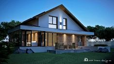 PROIECT CASĂ MICĂ CU MANSARDĂ | House Design Modern Exterior House Designs, A Frame Cabin, Design Case, Home Fashion, House Plans, Ikea, Mansions, House Styles, Outdoor Decor