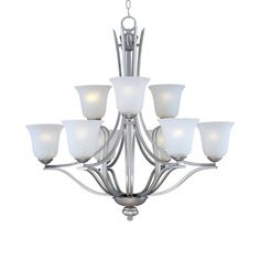 Maxim Lighting 10177ICSS Madera 9-Light Chandelier, Satin Silver Finish with Ice Glass