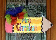 Pencil Door Hanger Teacher Gift Teacher by DoorCreationsbyJess