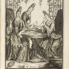 """Incredibly well-dressed late 17thc French ladies, sneaking out to the arbor in the garden to play cards, drink (note the broken wineglass on the floor) and smoke - and smoking long clay pipes, too. """"La Charmante Tabagie"""", illustration from """"Recueil de modes : Tome 3 : quatre-vingt-dix-huit planches"""" by Nicolas Armoult, c1690, Biblioteque nationale de France. #womensmoking #17t..."""