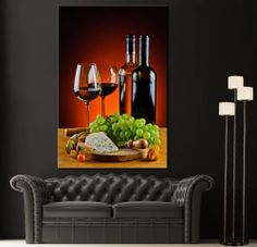 Canvas Print Red White Bottle Wine Home Wall Art Prints Picture Colorful Decor 2