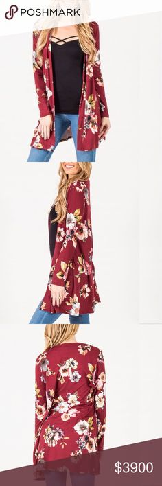 "Wine Floral Long Cardigan Brand new without tag. Beautiful wine Floral open cardigan. 95% polyester and 5% spandex. Super soft and stretchy. Measurement laying flat: bust: 20"" length: 35.5"" Reb & J Sweaters Cardigans"