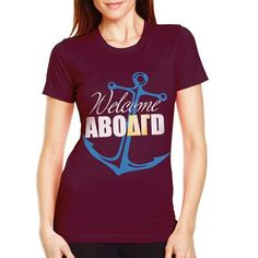 "Sorority Bid Day Shirts ""Welcome Aboard"" without the delta gamma. Sorority Recruitment Shirts, Bid Day Shirts, Rush Shirts, Sorority Bid Day, Sorority Outfits, Sorority Shirt Designs, Welcome Aboard, Custom Greek Apparel, Greek Clothing"