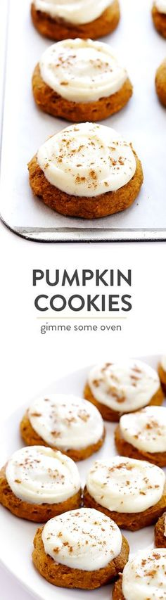 Love this soft Pumpkin Cookies with Cream Cheese Frosting recipe! They're easy to make, perfectly spiced with cinnamon and pumpkin pie spices, and topped with the most heavenly creamy icing. Perfect for fall baking! | gimmesomeoven.com