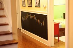 So My Walls Can Talk Part 1 ~ chalkboard wall - for the entry hallway, below the chair rail.