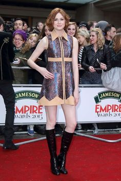 Actress Karen Gillan teamed her Louis Vuitton mini dress with patent knee-high boots to attend the Empire Awards in London. Karen Sheila Gillan, Karen Gillan, Party Fashion, Fashion Show, Fashion Trends, The Big Short, Red Carpet Party, Alex Kingston, Bbc Doctor Who