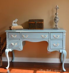 This French Provencial desk was refinished using a custom color of Annie Sloan Chalk Paint (2 parts Provence: 1 part Paris Grey)