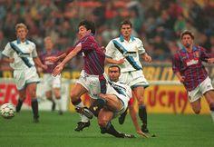 Inter Milan 1 Aston Villa 0 in Sept 1994 at the San Siro. Giuseppe Bergomi tackles Dean Saunders #UEFACup