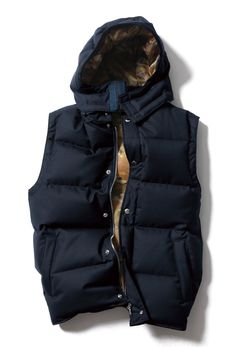 2 Layer Wool Hood Down Vest, part of the F/W 2012 Down Outerwear Collection. SOPHNET. Japan.